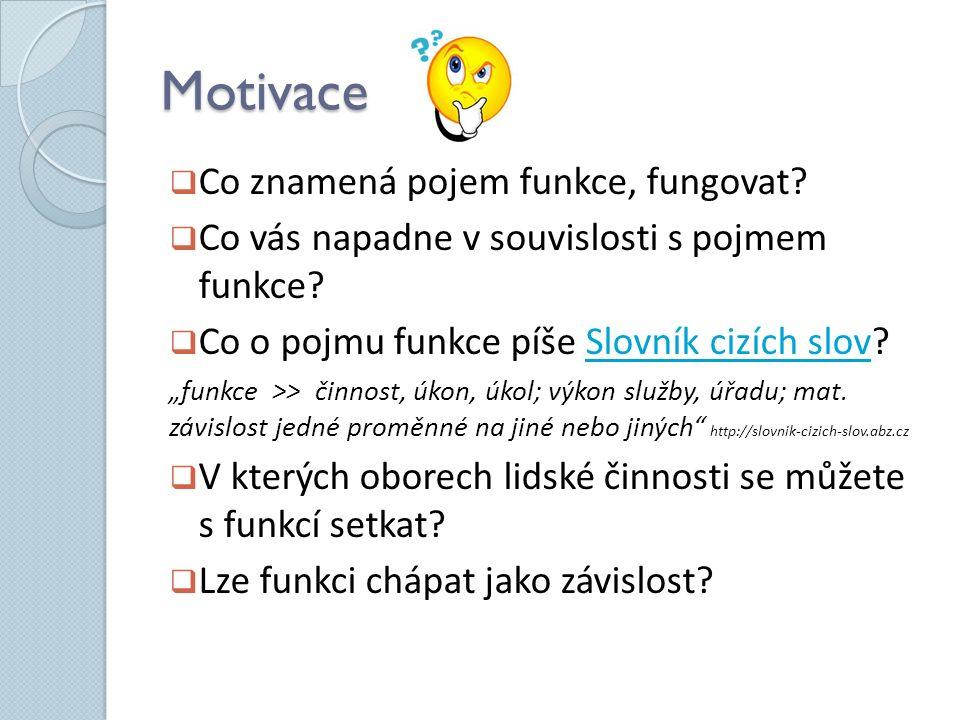Motivace  Co znamená pojem funkce, fungovat?  Co vás napadne v souvislosti s pojmem funkce?  Co o pojmu funkce píše Slovník cizích slov?Slovník ciz