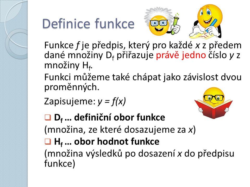 Definice funkce Funkce f je předpis, který pro každé x z předem dané množiny D f přiřazuje právě jedno číslo y z množiny H f. Funkci můžeme také chápa