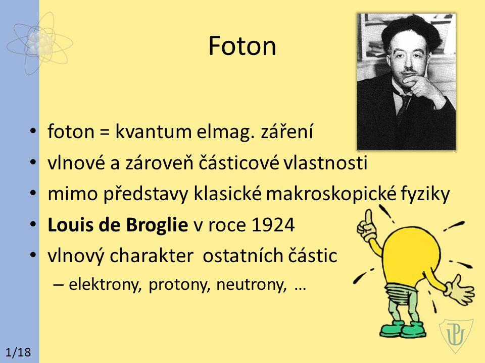 Foton foton = kvantum elmag. záření vlnové a zároveň částicové vlastnosti mimo představy klasické makroskopické fyziky Louis de Broglie v roce 1924 vl