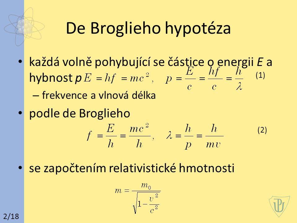 De Broglieho hypotéza každá volně pohybující se částice o energii E a hybnost p (1) – frekvence a vlnová délka podle de Broglieho (2) se započtením relativistické hmotnosti 2/18
