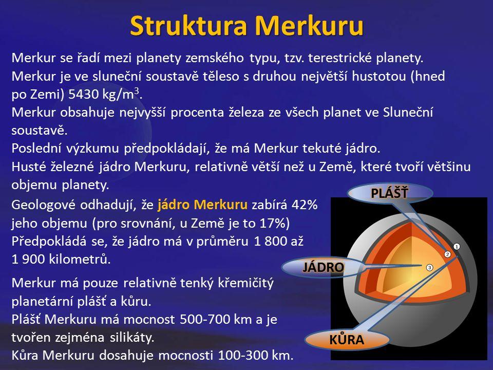 Povrch Merkuru Po fyzické stránce je podobný našemu Měsíci.