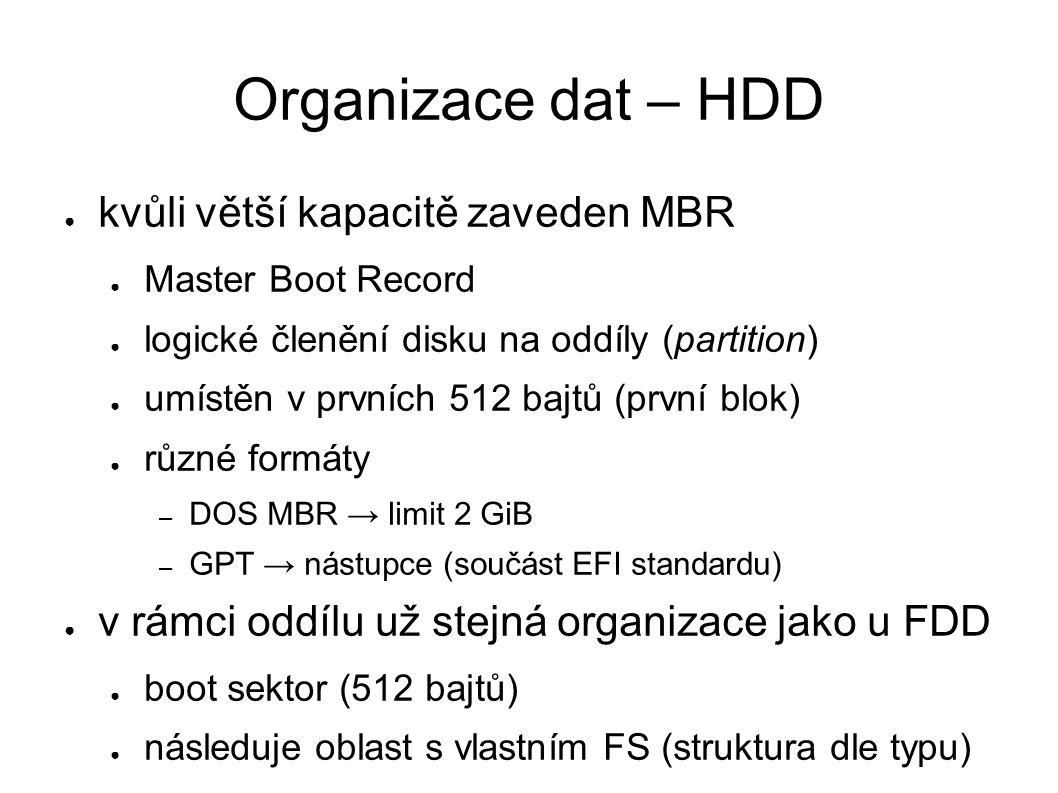 Organizace dat – HDD ● kvůli větší kapacitě zaveden MBR ● Master Boot Record ● logické členění disku na oddíly (partition) ● umístěn v prvních 512 bajtů (první blok) ● různé formáty – DOS MBR → limit 2 GiB – GPT → nástupce (součást EFI standardu) ● v rámci oddílu už stejná organizace jako u FDD ● boot sektor (512 bajtů) ● následuje oblast s vlastním FS (struktura dle typu)