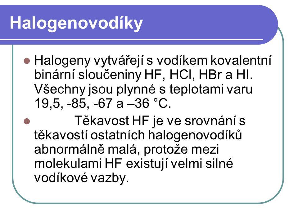 Halogenovodíky Halogeny vytvářejí s vodíkem kovalentní binární sloučeniny HF, HCl, HBr a HI.