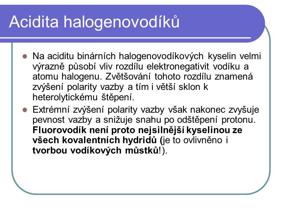 Acidita halogenovodíků Na aciditu binárních halogenovodíkových kyselin velmi výrazně působí vliv rozdílu elektronegativit vodíku a atomu halogenu.