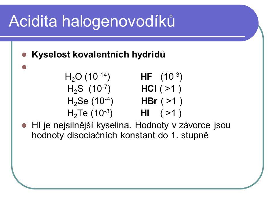 Acidita halogenovodíků Kyselost kovalentních hydridů H 2 O (10 -14 ) HF (10 -3 ) H 2 S (10 -7 ) HCl ( >1 ) H 2 Se (10 -4 ) HBr ( >1 ) H 2 Te (10 -3 ) HI ( >1 ) HI je nejsilnější kyselina.
