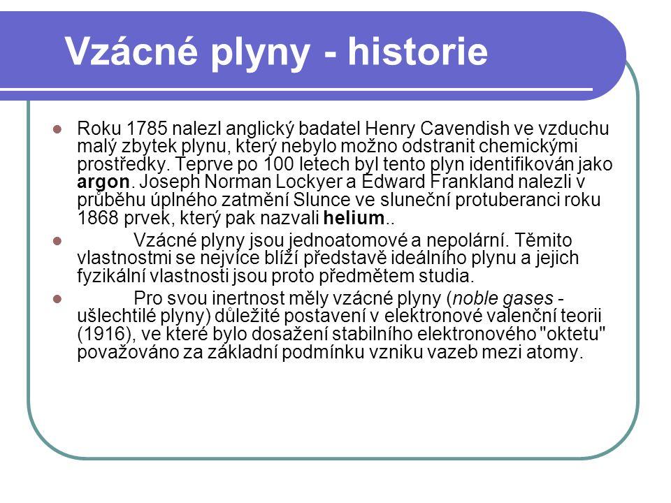 Vzácné plyny - historie Roku 1785 nalezl anglický badatel Henry Cavendish ve vzduchu malý zbytek plynu, který nebylo možno odstranit chemickými prostředky.
