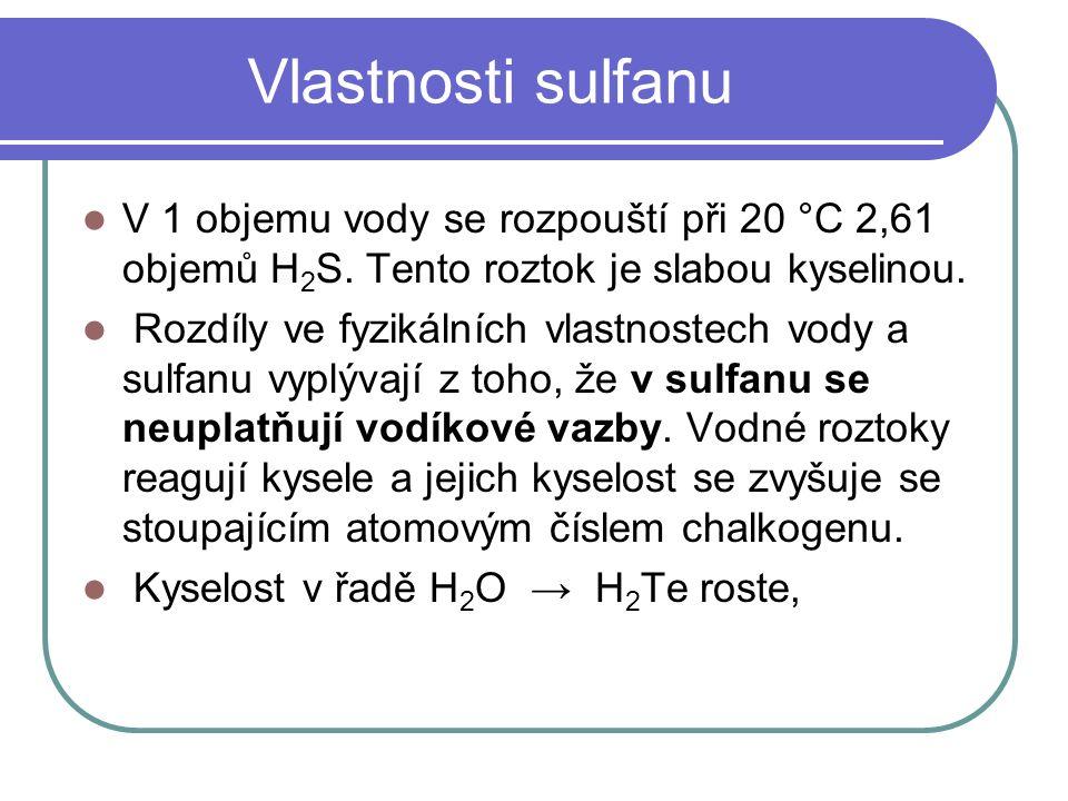 Vlastnosti sulfanu V 1 objemu vody se rozpouští při 20 °C 2,61 objemů H 2 S.