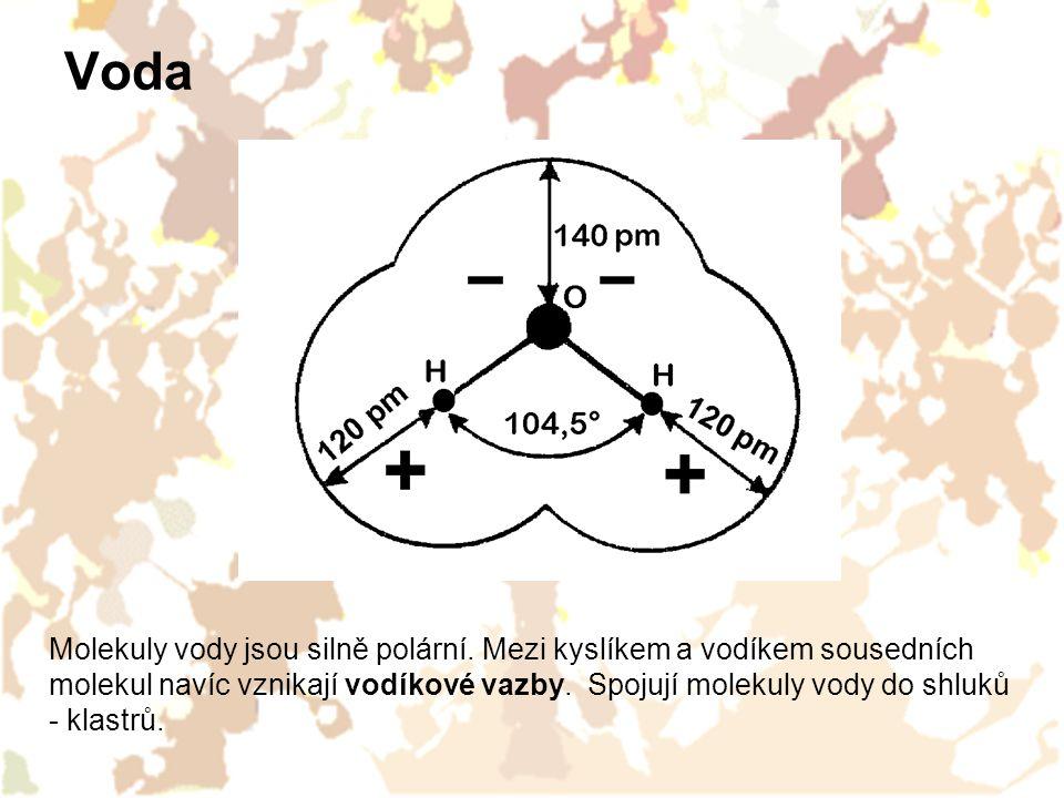 Vodíková vazba mezi molekulami vody Kapalná voda Obrázky: http://cwx.prenhall.com/bookbind/pubbooks/hillchem3/medialib/media_portfolio/11.html Led