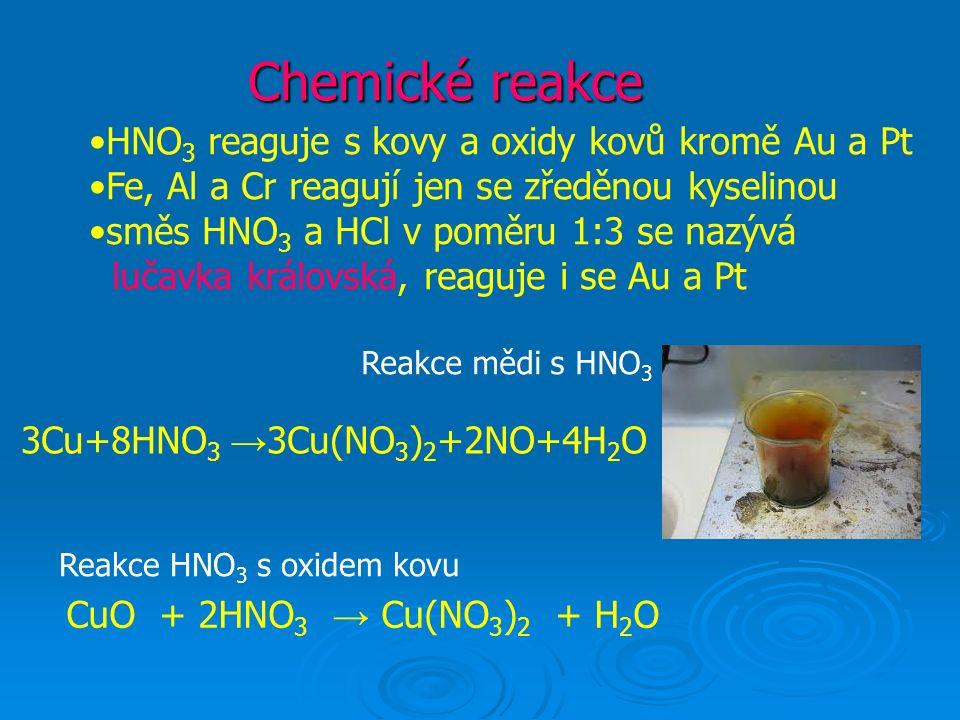 Chemické reakce HNO 3 reaguje s kovy a oxidy kovů kromě Au a Pt Fe, Al a Cr reagují jen se zředěnou kyselinou směs HNO 3 a HCl v poměru 1:3 se nazývá lučavka královská, reaguje i se Au a Pt 3Cu+8HNO 3 → 3Cu(NO 3 ) 2 +2NO+4H 2 O CuO + 2HNO 3 → Cu(NO 3 ) 2 + H 2 O Reakce HNO 3 s oxidem kovu Reakce mědi s HNO 3
