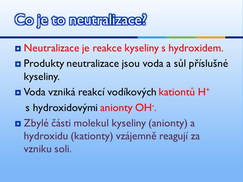  Neutralizace je reakce kyseliny s hydroxidem.