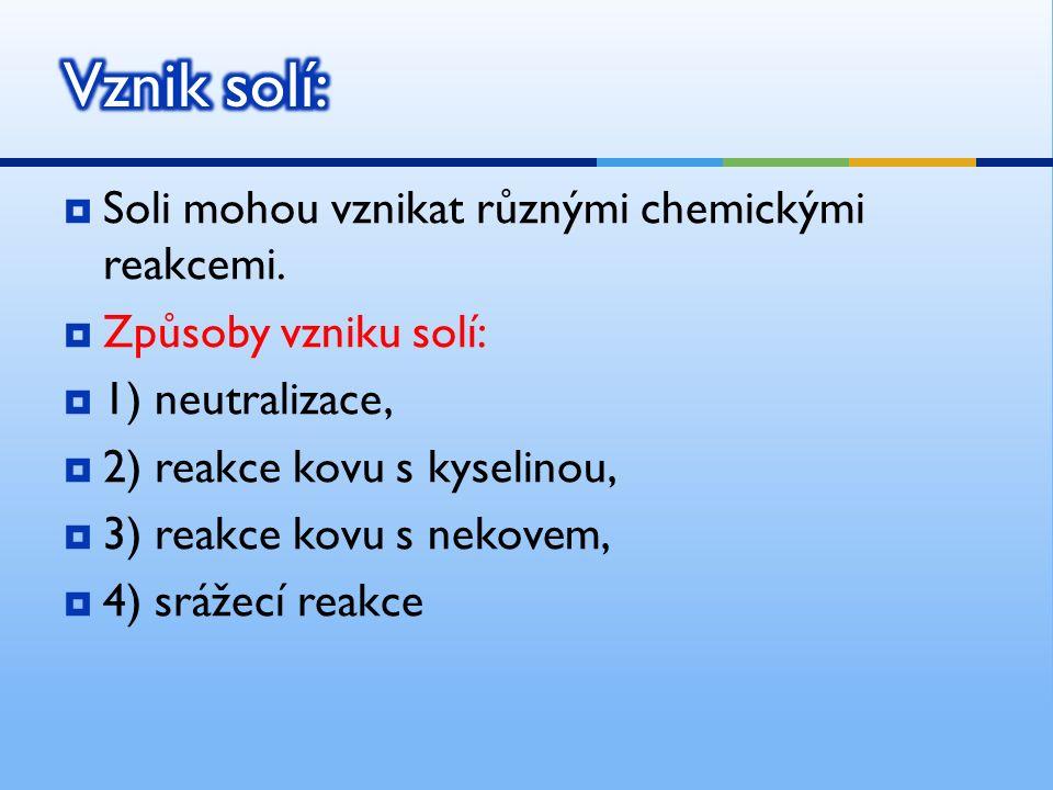  Soli mohou vznikat různými chemickými reakcemi.