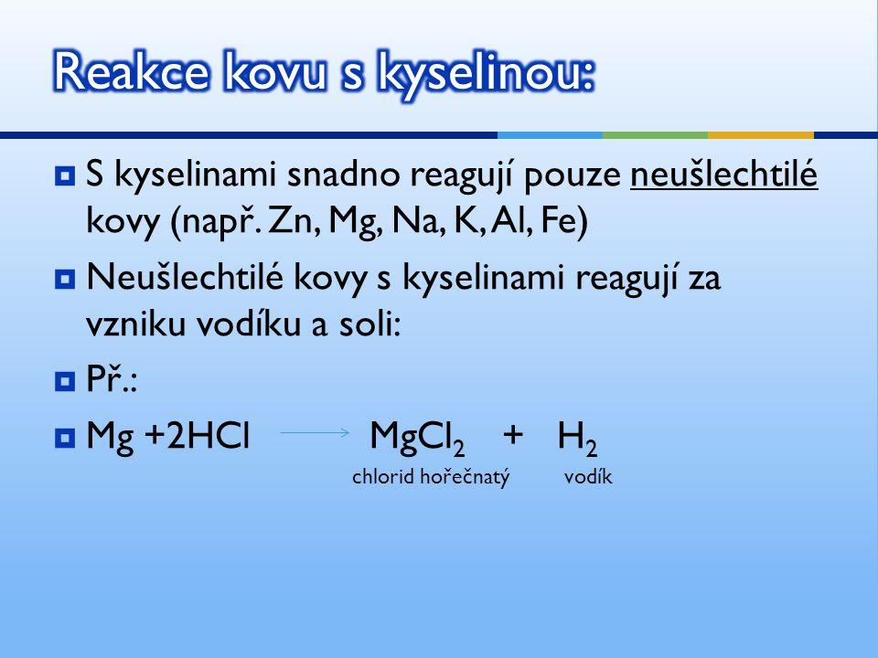  S kyselinami snadno reagují pouze neušlechtilé kovy (např.