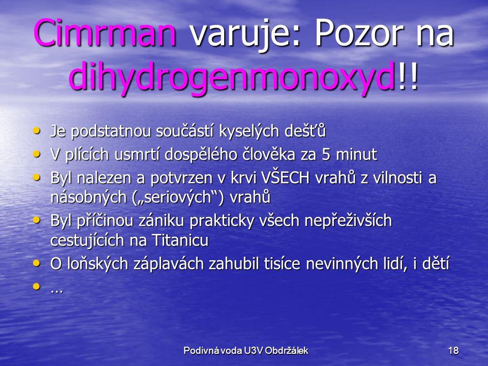 18 Cimrman varuje: Pozor na dihydrogenmonoxyd!.
