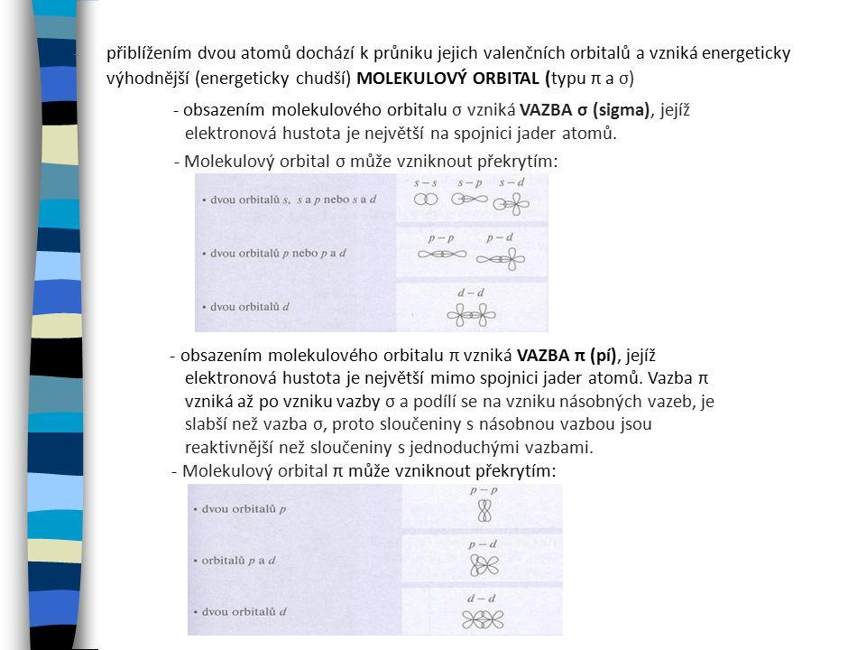 - přiblížením dvou atomů dochází k průniku jejich valenčních orbitalů a vzniká energeticky výhodnější (energeticky chudší) MOLEKULOVÝ ORBITAL (typu π a σ) - obsazením molekulového orbitalu σ vzniká VAZBA σ (sigma), jejíž elektronová hustota je největší na spojnici jader atomů.