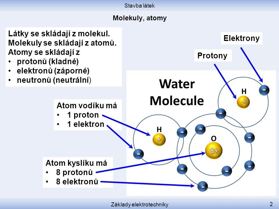 Stavba látek Základy elektrotechniky 3 Kyslík je tam nemá, má tam jen 8 – 2 = 6 elektronů.