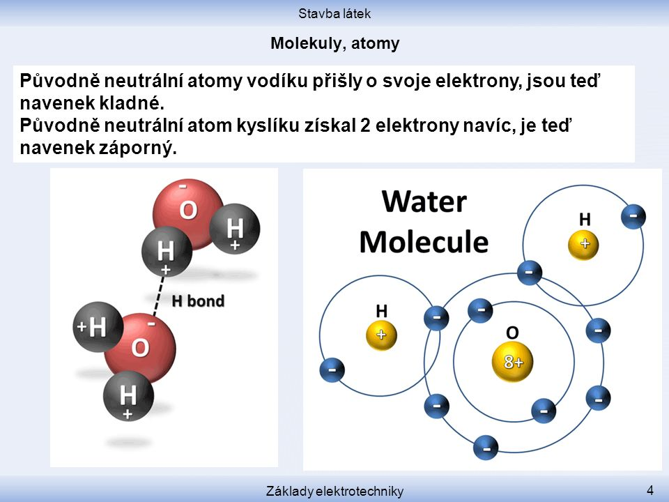 Stavba látek Základy elektrotechniky 5 Záporný (kyslíkový) konec molekuly vody si elektrostaticky přitáhne kladný (vodíkový) konec jiné molekuly.
