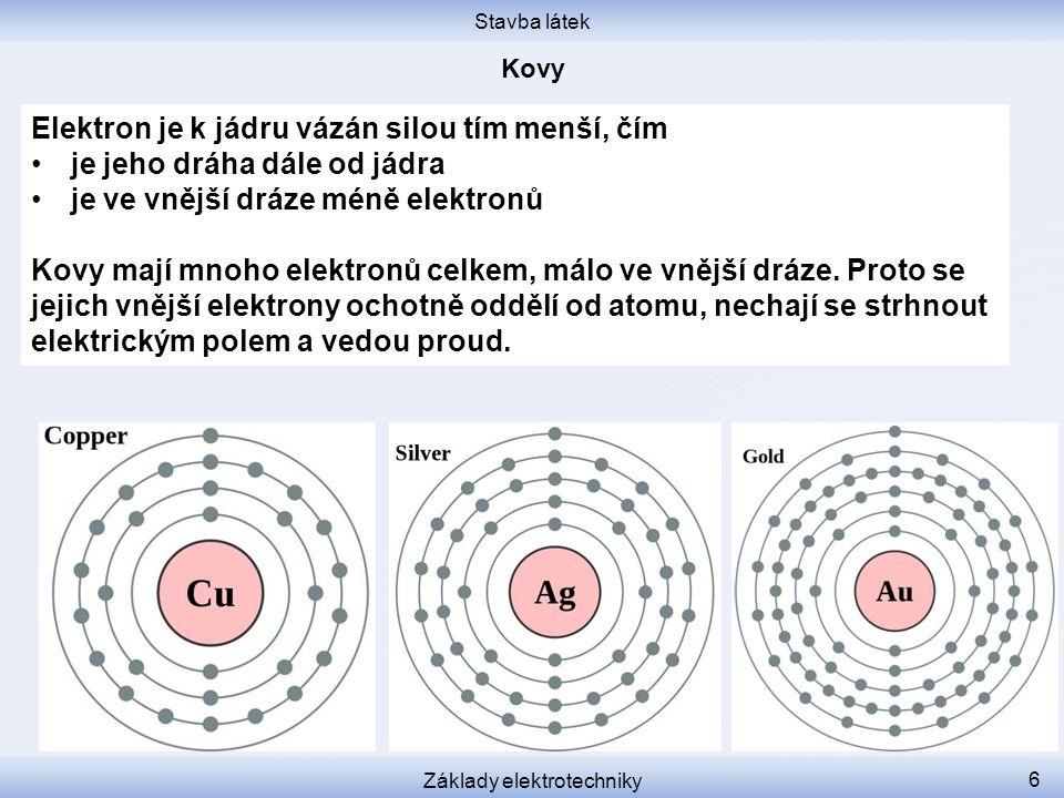 Stavba látek Základy elektrotechniky 7 Měď, stříbro, zlato mají ve vnější dráze jen jediný elektron.