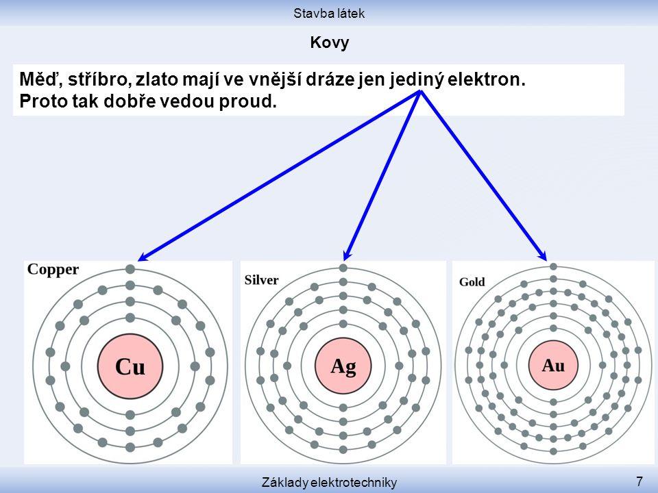 Stavba látek Základy elektrotechniky 8 Izolanty nemají žádné volné elektrony, proto nevedou proud.
