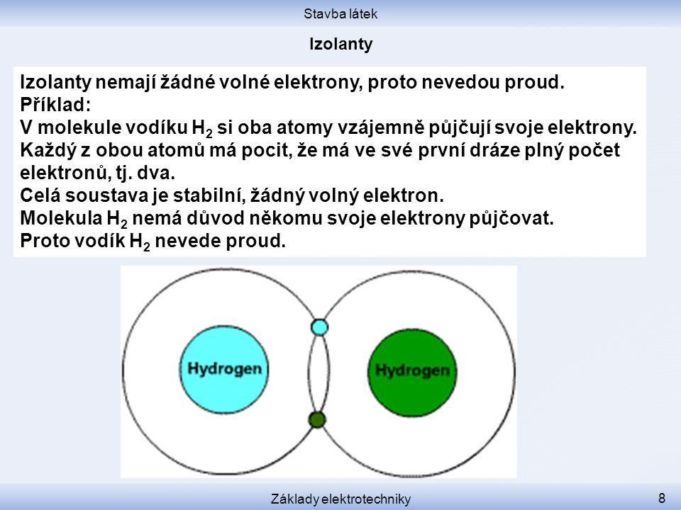 Stavba látek Základy elektrotechniky 9 Vnitřní struktura jiných izolantů, např.