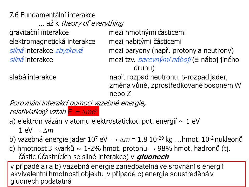 7.6 Fundamentální interakce … až k theory of everything gravitační interakce mezi hmotnými částicemi elektromagnetická interakce mezi nabitými částicemi silná interakce zbytkovámezi baryony (např.