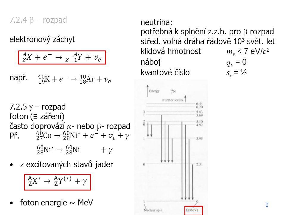 7.2.4  – rozpad elektronový záchyt např.