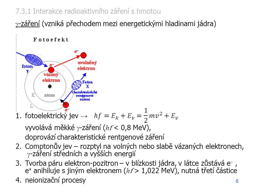 1.fotoelektrický jev → vyvolává měkké  -záření ( h f < 0,8 MeV), doprovází charakteristické rentgenové záření 2.Comptonův jev – rozptyl na volných nebo slabě vázaných elektronech,  -záření středních a vyšších energií 3.Tvorba páru elektron-pozitron – v blízkosti jádra, v látce zůstává e , e  anihiluje s jiným elektronem ( h f > 1,022 MeV), nutná třetí částice 4.neionizační procesy 7.3.1 Interakce radioaktivního záření s hmotou  -záření (vzniká přechodem mezi energetickými hladinami jádra) 6