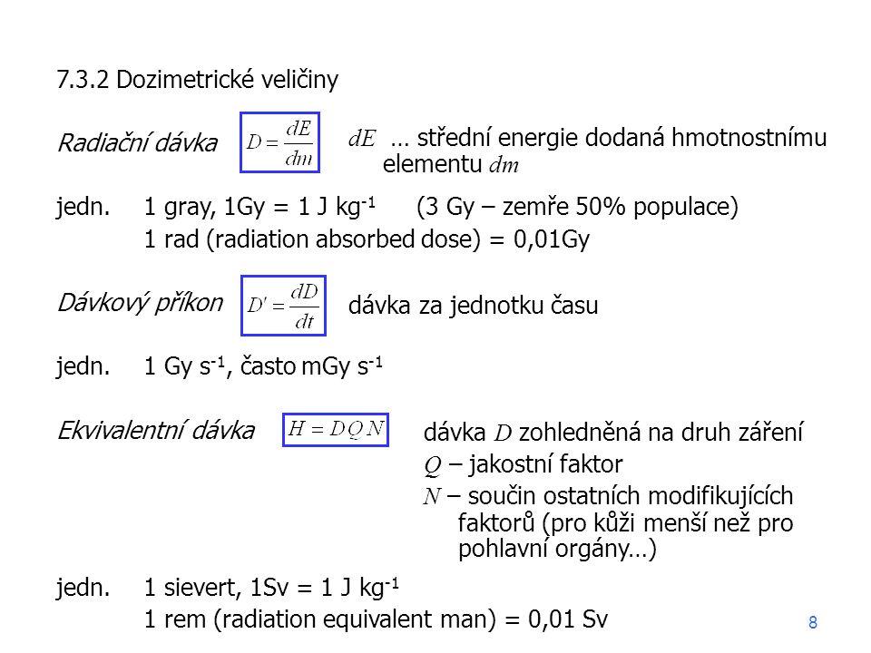 7.3.2 Dozimetrické veličiny Radiační dávka jedn.