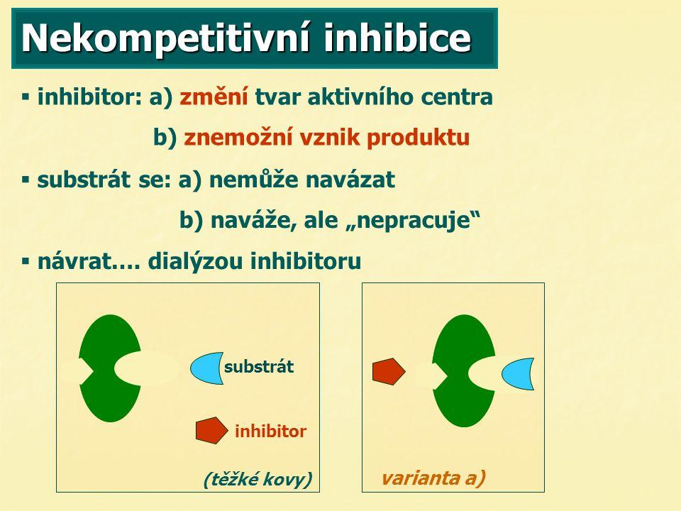 """Nekompetitivní inhibice   inhibitor: a) změní tvar aktivního centra b) znemožní vznik produktu substrát inhibitor (těžké kovy)   substrát se: a) nemůže navázat b) naváže, ale """"nepracuje   návrat…."""