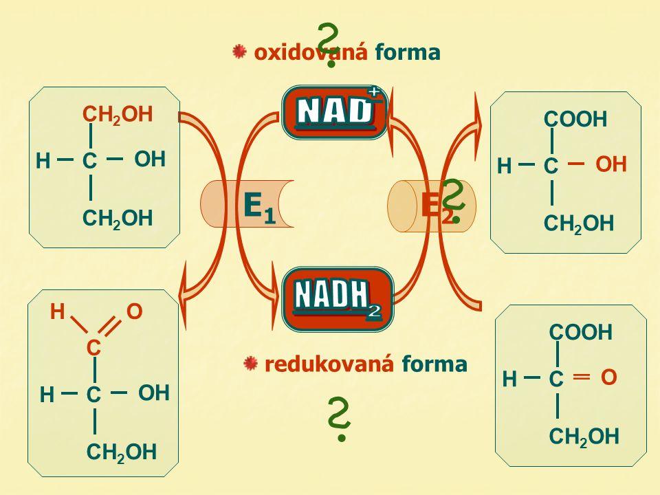 C OH CH 2 OH HO HC  OH CH 2 OH HC COOH OH CH 2 OH HC COOH O CH 2 OH HC oxidovaná forma redukovaná forma E1E1 E2E2 