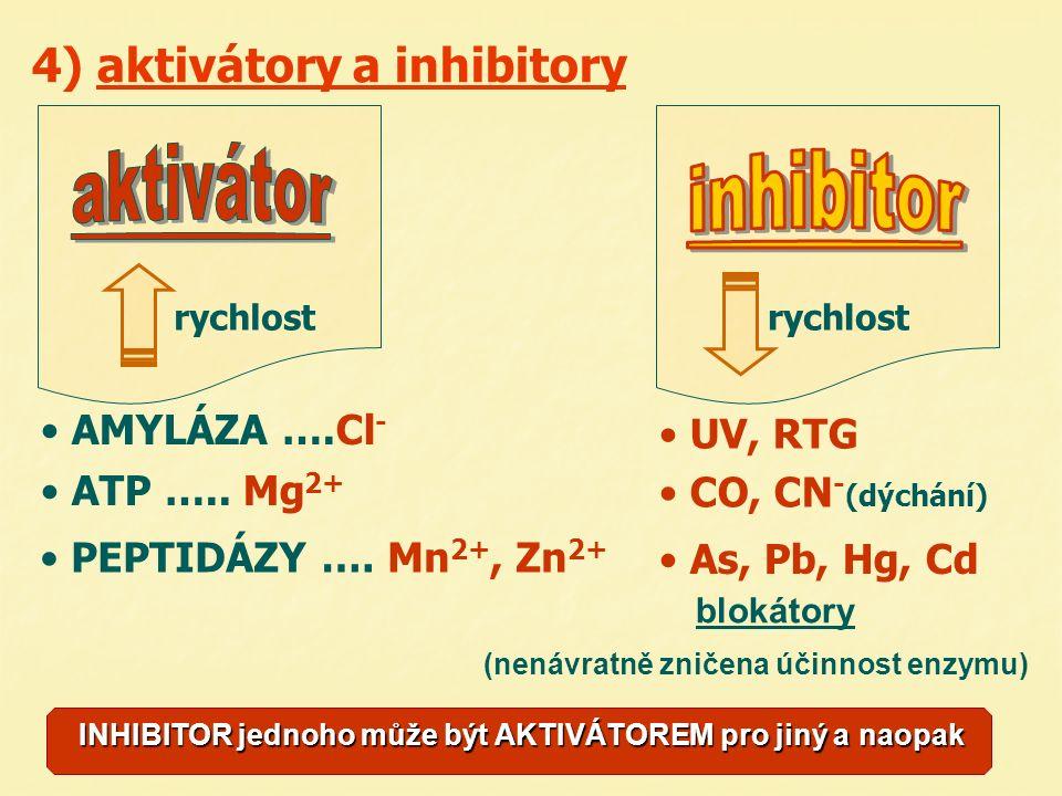 4) aktivátory a inhibitory rychlost AMYLÁZA ….Cl - ATP …..