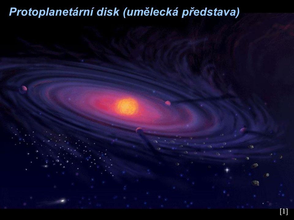Vznik planet planety začaly vznikat akrecí (postupným spojová- ním) prachových částic protoplanetárního disku postupným spojováním shluků v důsledku vzájemných srážek vznikly planetisimály – tělesa o rozměrech až 10 km některé planetisimály se dále spojovaly a vznikaly protoplanety s rozměry 500 a 1 000 km protoplanety byly v důsledku neustálého bombardování povrchu a rozpadu radioaktivních prvků roztavené a vlastní gravitací se zformovaly do tvaru koule a vnitřně se diferencovaly na jádro, plášť a kůru