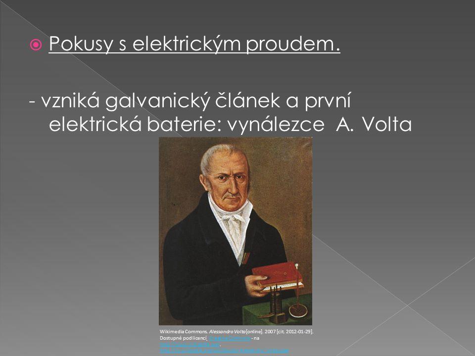  Pokusy s elektrickým proudem.- vzniká galvanický článek a první elektrická baterie: vynálezce A.