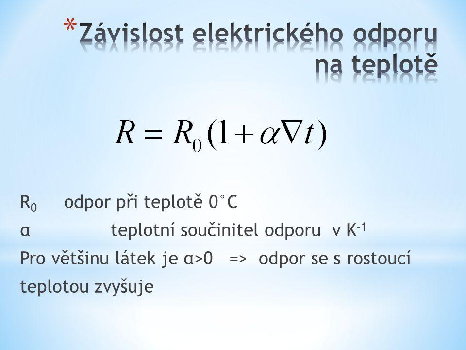 R 0 odpor při teplotě 0°C αteplotní součinitel odporu v K -1 Pro většinu látek je α>0 => odpor se s rostoucí teplotou zvyšuje