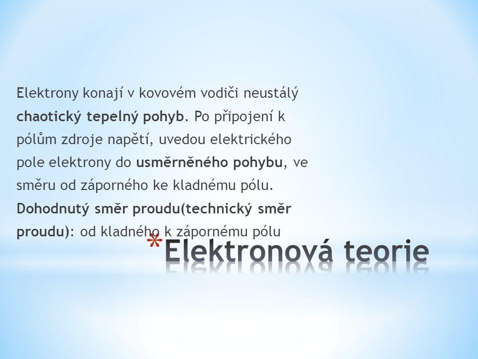 Elektrony konají v kovovém vodiči neustálý chaotický tepelný pohyb.