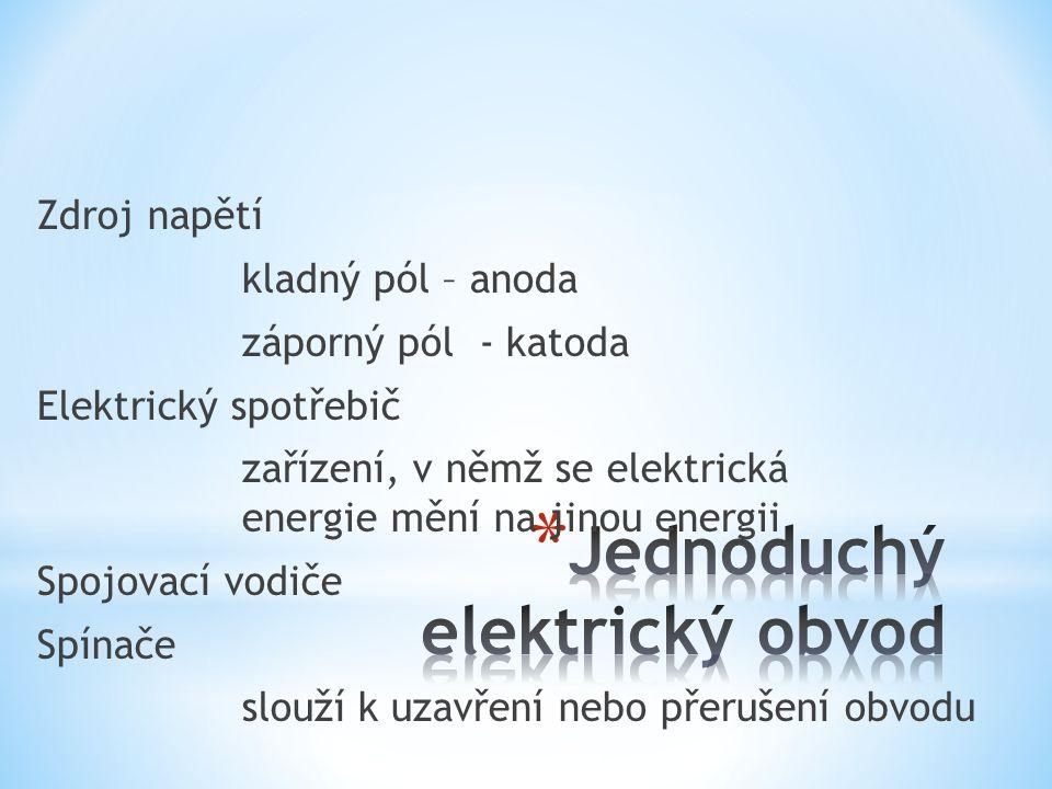 Zdroj napětí kladný pól – anoda záporný pól - katoda Elektrický spotřebič zařízení, v němž se elektrická energie mění na jinou energii Spojovací vodiče Spínače slouží k uzavření nebo přerušení obvodu