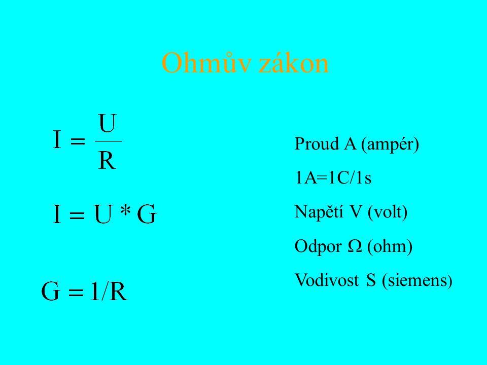 Ohmův zákon Proud A (ampér) 1A=1C/1s Napětí V (volt) Odpor  ohm  Vodivost S (siemens )