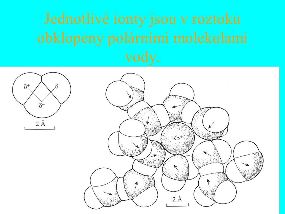 Jednotlivé ionty jsou v roztoku obklopeny polárními molekulami vody.