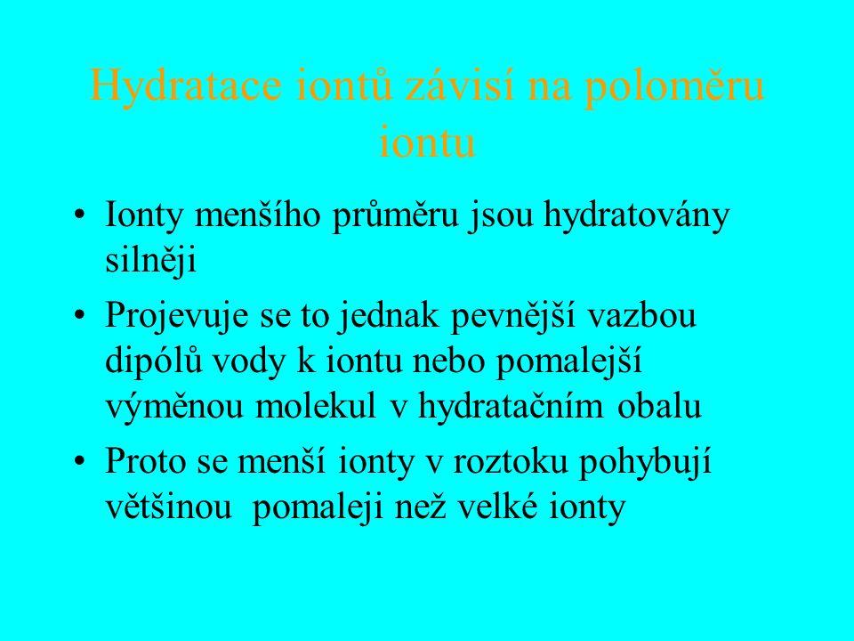 Hydratace iontů závisí na poloměru iontu Ionty menšího průměru jsou hydratovány silněji Projevuje se to jednak pevnější vazbou dipólů vody k iontu neb