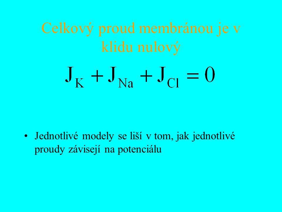 Celkový proud membránou je v klidu nulový Jednotlivé modely se liší v tom, jak jednotlivé proudy závisejí na potenciálu