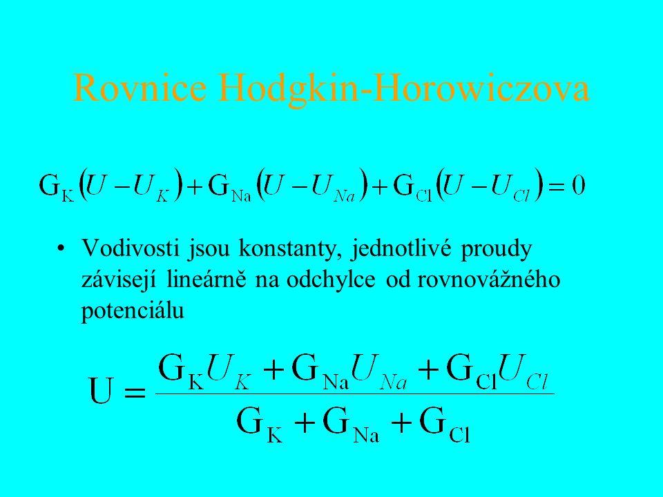 Rovnice Hodgkin-Horowiczova Vodivosti jsou konstanty, jednotlivé proudy závisejí lineárně na odchylce od rovnovážného potenciálu