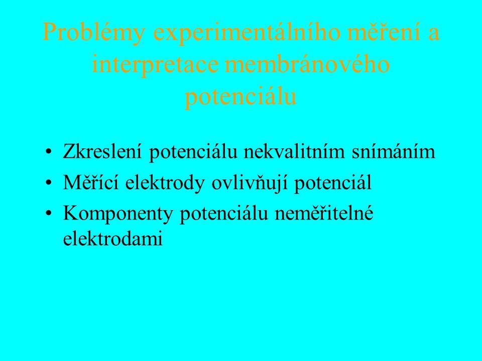 Problémy experimentálního měření a interpretace membránového potenciálu Zkreslení potenciálu nekvalitním snímáním Měřící elektrody ovlivňují potenciál Komponenty potenciálu neměřitelné elektrodami