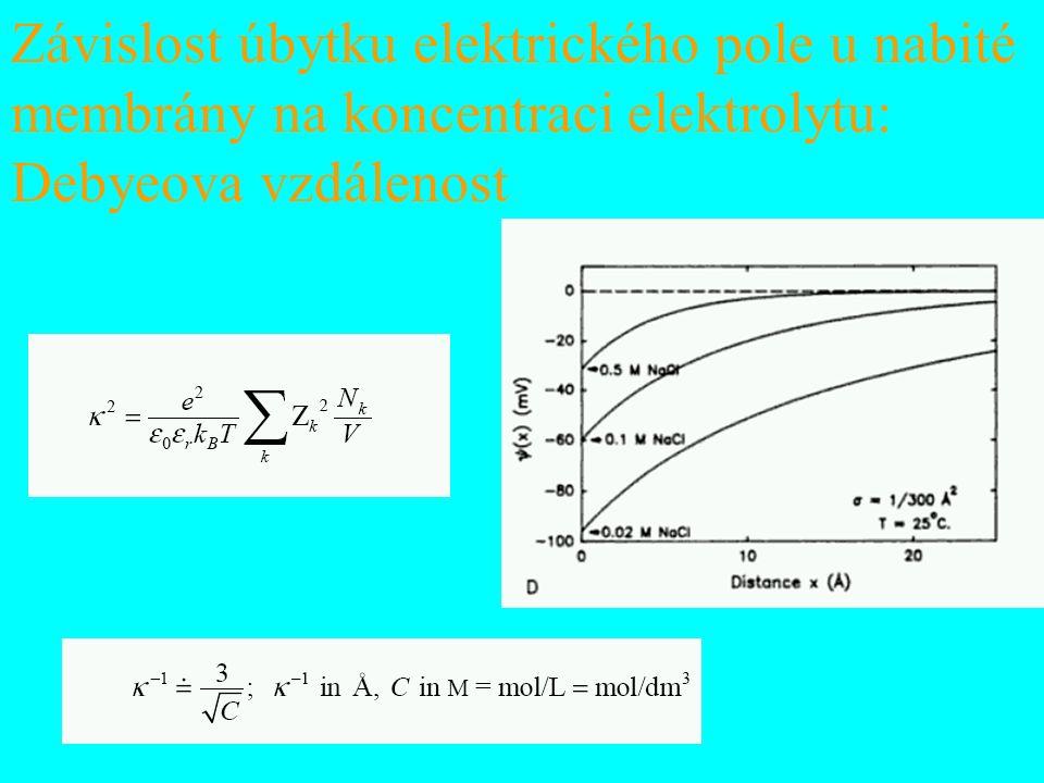 Závislost úbytku elektrického pole u nabité membrány na koncentraci elektrolytu: Debyeova vzdálenost