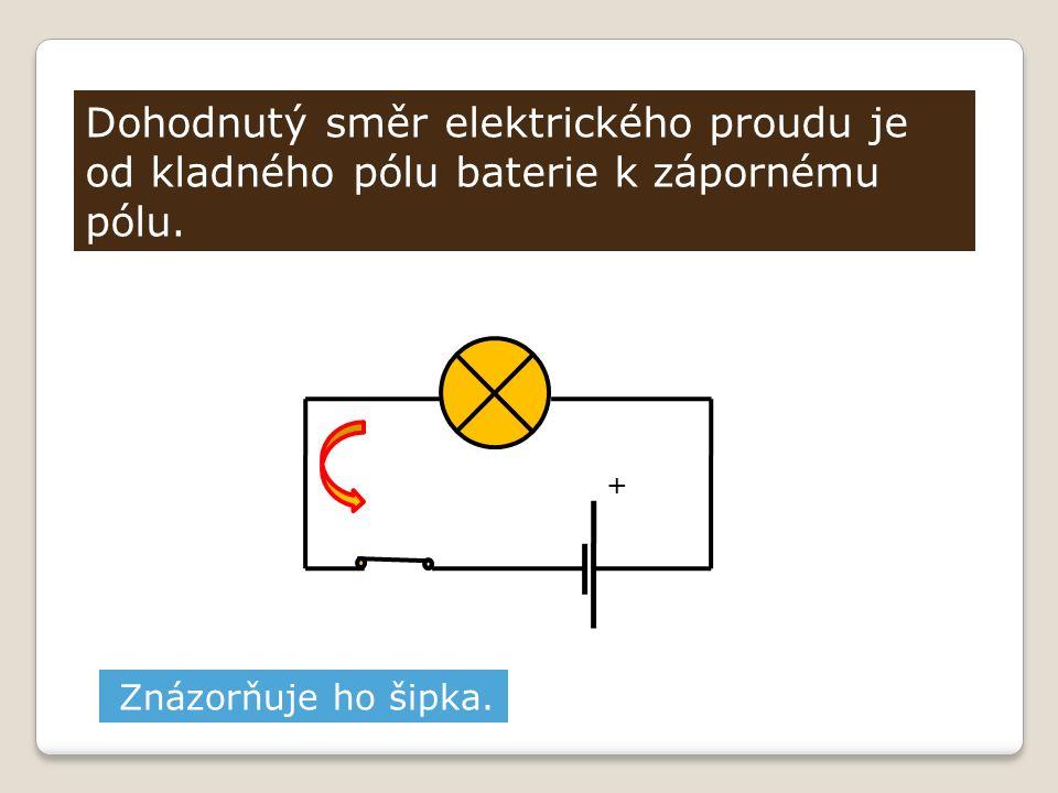 Dohodnutý směr elektrického proudu je od kladného pólu baterie k zápornému pólu. Znázorňuje ho šipka. +