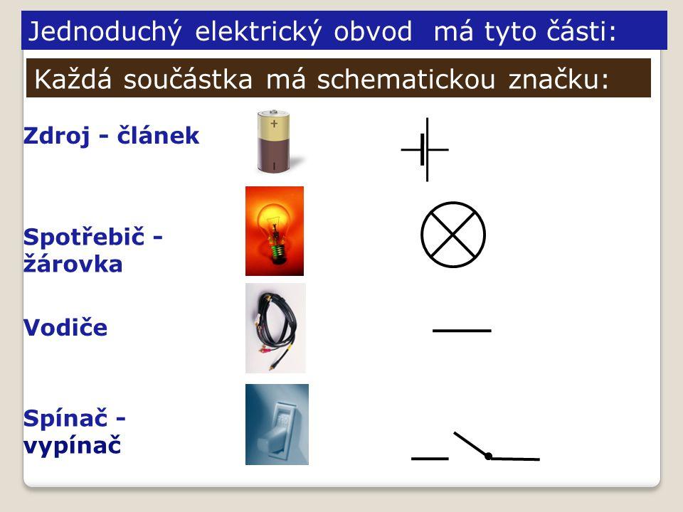 Jednoduchý elektrický obvod má tyto části: Zdroj - článek Spotřebič - žárovka Vodiče Spínač - vypínač Každá součástka má schematickou značku: