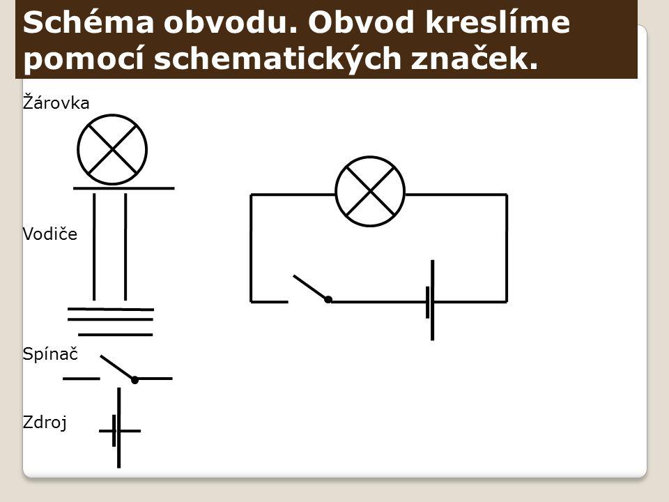 Schéma obvodu. Obvod kreslíme pomocí schematických značek. Žárovka Vodiče Spínač Zdroj