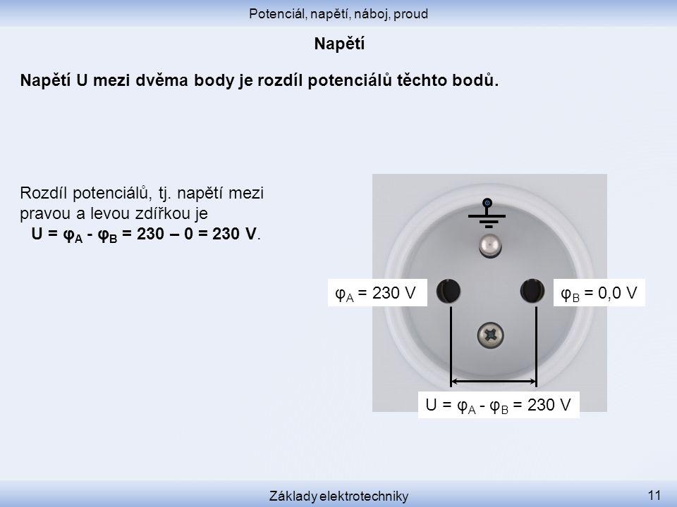Napětí U mezi dvěma body je rozdíl potenciálů těchto bodů.