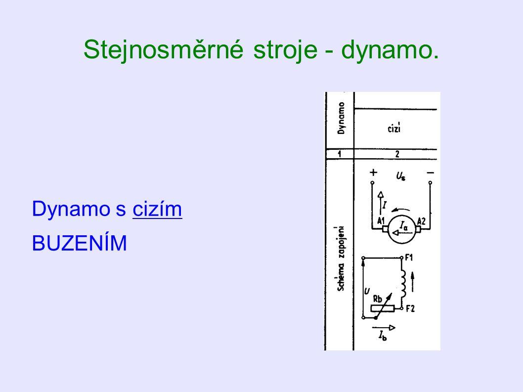 Stejnosměrné stroje - dynamo. Dynamo s cizím BUZENÍM