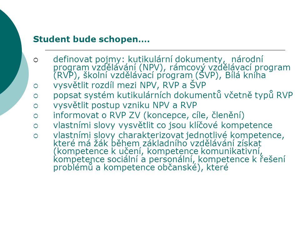Student bude schopen….  definovat pojmy: kutikulární dokumenty, národní program vzdělávání (NPV), rámcový vzdělávací program (RVP), školní vzdělávací