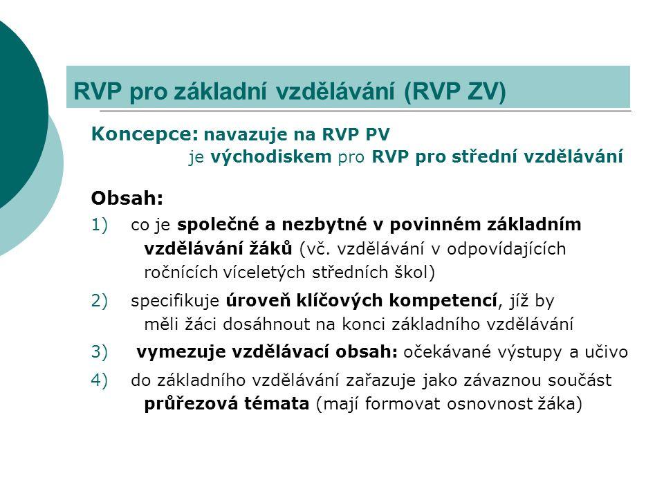 RVP pro základní vzdělávání (RVP ZV) Koncepce: navazuje na RVP PV je východiskem pro RVP pro střední vzdělávání Obsah: 1)co je společné a nezbytné v povinném základním vzdělávání žáků (vč.