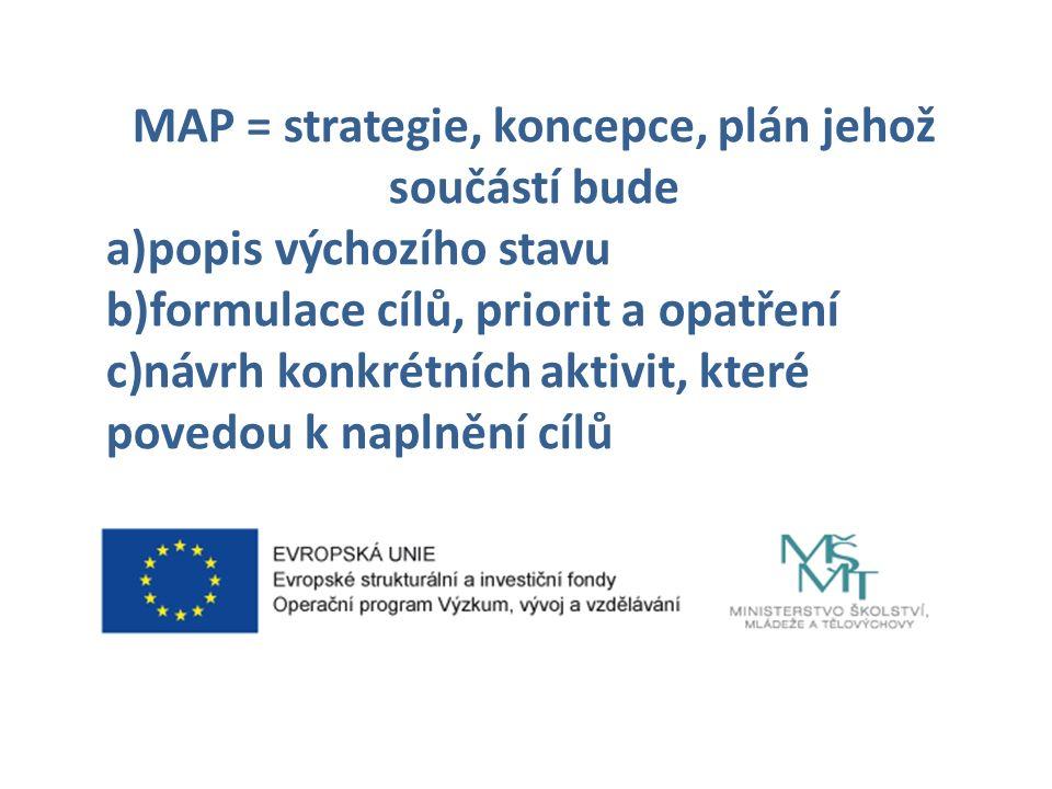 MAP = strategie, koncepce, plán jehož součástí bude a)popis výchozího stavu b)formulace cílů, priorit a opatření c)návrh konkrétních aktivit, které povedou k naplnění cílů